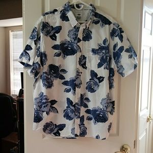 Blue floral short sleeved button down shirt